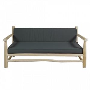 Canapea din lemn tec si perne gri 150 cm Capri Arms Santiago Pons
