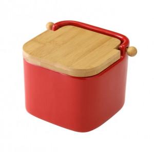 Recipient rosu cu capac pentru sare din ceramica 750 ml Ellis Unimasa