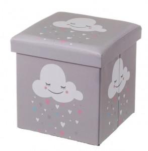 Taburet patrat gri pentru copii din MDF 38x38 cm Cloud Unimasa