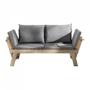 Banca extensibila maro/gri din lemn si poliester pentru exterior 152(190) cm Garden Relax Invicta Interior