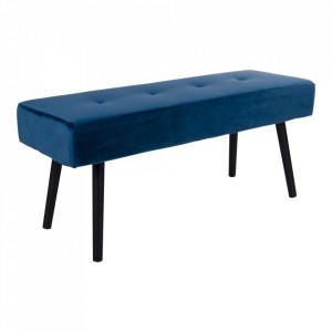 Bancheta albastra din catifea si otel 100 cm Skiby House Nordic