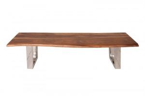 Bancheta maro/argintie din lemn si inox 180 cm Mammut Bench Invicta Interior