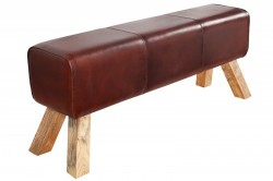 Bancheta maro cafeniu din piele si lemn 120 cm Bock Invicta Interior