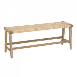 Bancheta maro din ratan si lemn de tec 120 cm Beida Kave Home