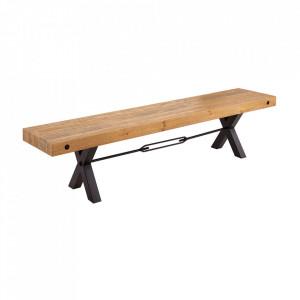 Bancheta maro/neagra din lemn si fier 200 cm Thor Invicta Interior