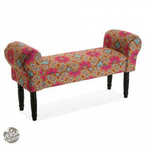 Bancheta multicolora din textil 100 cm Aubrey Velvet Bed Foot Stool Versa Home