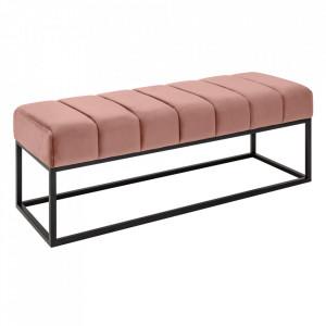 Bancheta roz/neagra din catifea si metal 108 cm Beaute Invicta Interior