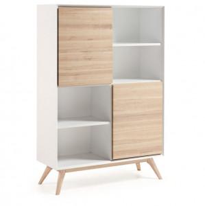 Biblioteca din lemn si MDF alb mat 104x152 cm Quatre La Forma