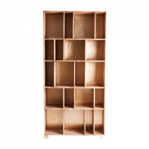 Biblioteca maro/aurie din lemn 187 cm Vex Vical Home