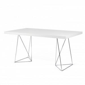 Birou alb din panouri si metal 90x160 cm Multi White Chrome TemaHome