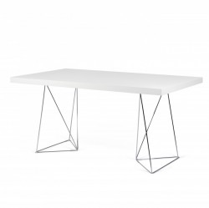 Birou alb din panouri si metal 90x180 cm Multi White Chrome TemaHome