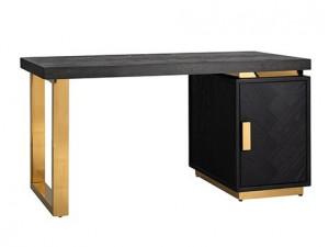 Birou negru/auriu din lemn si inox 70x150 cm Blackbone Richmond Interiors