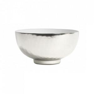 Bol decorativ alb/gri argintiu din aluminiu 16 cm Deluxe Nordal