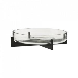 Bol decorativ negru/transparent din sticla si fier 6x24 cm Gravity House Doctor