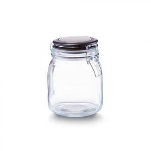 Borcan cu capac transparent/negru din sticla 1 L Lou Zeller