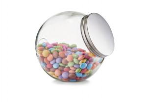 Borcan transparent/argintiu cu capac din sticla si metal 1,2 L Candy Jar Maxi Zeller