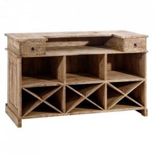 Bufet inferior cu suport pentru sticle maro din lemn de mango 180 cm Denzzo