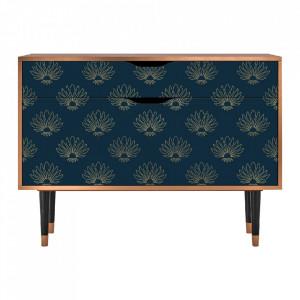 Bufet inferior multicolor din MDF si lemn 115 cm  Blue Lotus Furny