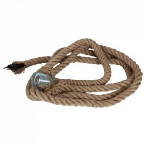 Cablu cu soclu maro din fibre naturale Vintage Rope Opjet Paris