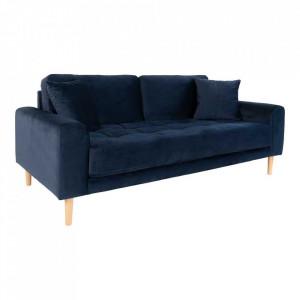 Canapea albastra din catifea si lemn pentru 2,5 persoane Lido House Nordic