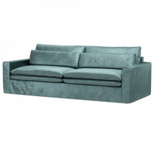 Canapea albastra din catifea si lemn pentru 3,5 persoane Continental Riviera Maison