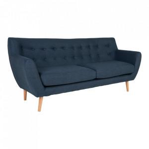 Canapea albastru inchis din poliester si lemn pentru 3 persoane Monte House Nordic