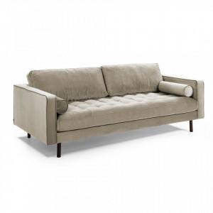 Canapea crem din catifea 222 cm Debra Kave Home