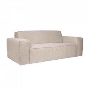 Canapea crem din poliester si lemn de pin pentru 2,5 persoane Bor Latte Zuiver