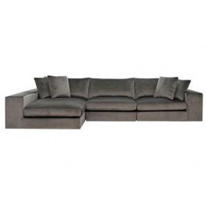 Canapea cu colt gri piatra din catifea si lemn 364 cm Juniper Richmond Interiors