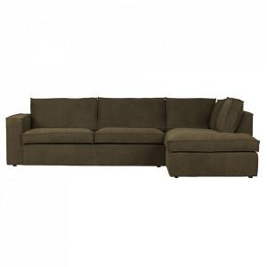 Canapea cu colt verde din poliester 283 cm Freddie Right Woood