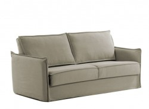 Canapea extensibila bej din bumbac si metal 202 cm Samsa Poli La Forma