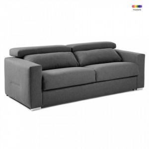 Canapea extensibila gri grafit din textil si metal 204 cm Queen Poli La Forma