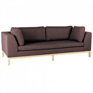 Canapea extensibila rosu bordo/maro din textil si lemn pentru 3 persoane Ambient Custom Form