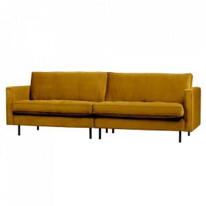 Canapea galbena din catifea pentru 3 persoane Rodeo Classic Be Pure Home