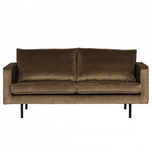 Canapea grej din catifea pentru 2,5 persoane Rodeo Short Be Pure Home