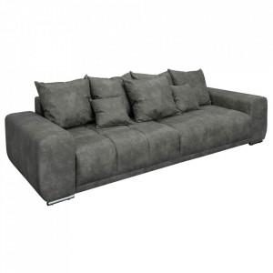 Canapea gri antichizat din poliester si metal 280 cm Elegancia Invicta Interior