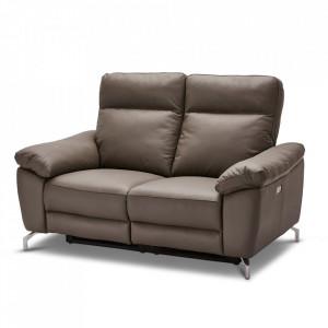 Canapea gri din piele si metal pentru 2 persoane Selesta Furnhouse