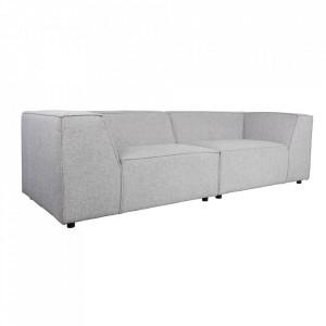 Canapea gri din poliester si lemn de pin pentru 3,5 persoane King Light Grey Zuiver