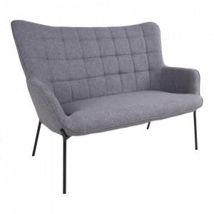 Canapea gri din poliester si lemn pentru 2 persoane Glasgow House Nordic