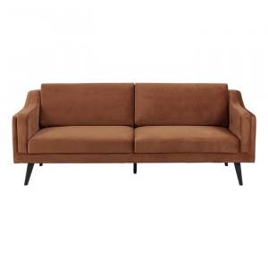 Canapea maro cupru/neagra din lemn si textil pentru 3 persoane Montreal Actona Company