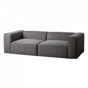 Canapea modulara gri din poliester si placaj 240 cm Kram Ixia