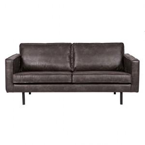 Canapea neagra din piele 190 cm Rodeo Black Be Pure Home