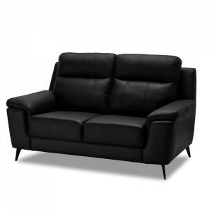 Canapea neagra din piele si metal pentru 2 persoane Hanover Furnhouse