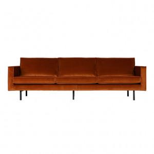 Canapea portocalie din catifea pentru 3 persoane Rodeo Rust Be Pure Home