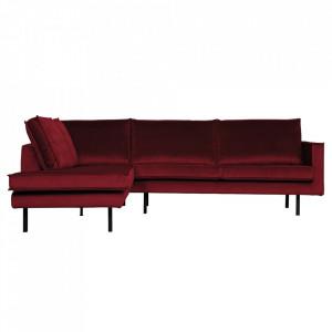 Canapea rosie din catifea cu colt 266 cm Rodeo Left Be Pure Home