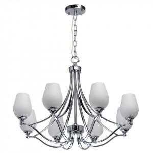 Candelabru argintiu/alb din metal si sticla cu 8 becuri Elegance Palermo MW Glasberg