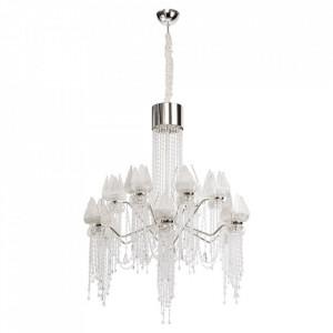 Candelabru argintiu din metal si sticla cu 28 LED-uri Lotus MW Glasberg