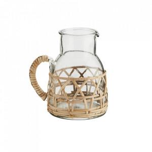 Carafa transparenta/maro din sticla si bambus 16x18 cm Irma Madam Stoltz