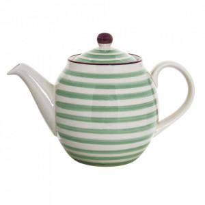Ceainic alb/verde din ceramica 1,2 L Patrizia Bloomingville