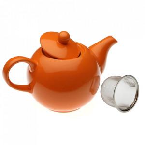 Ceainic portocaliu din ceramica 11x23 cm Tetera Versa Home